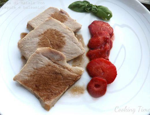 lonza di maiale con fragole e balsamico