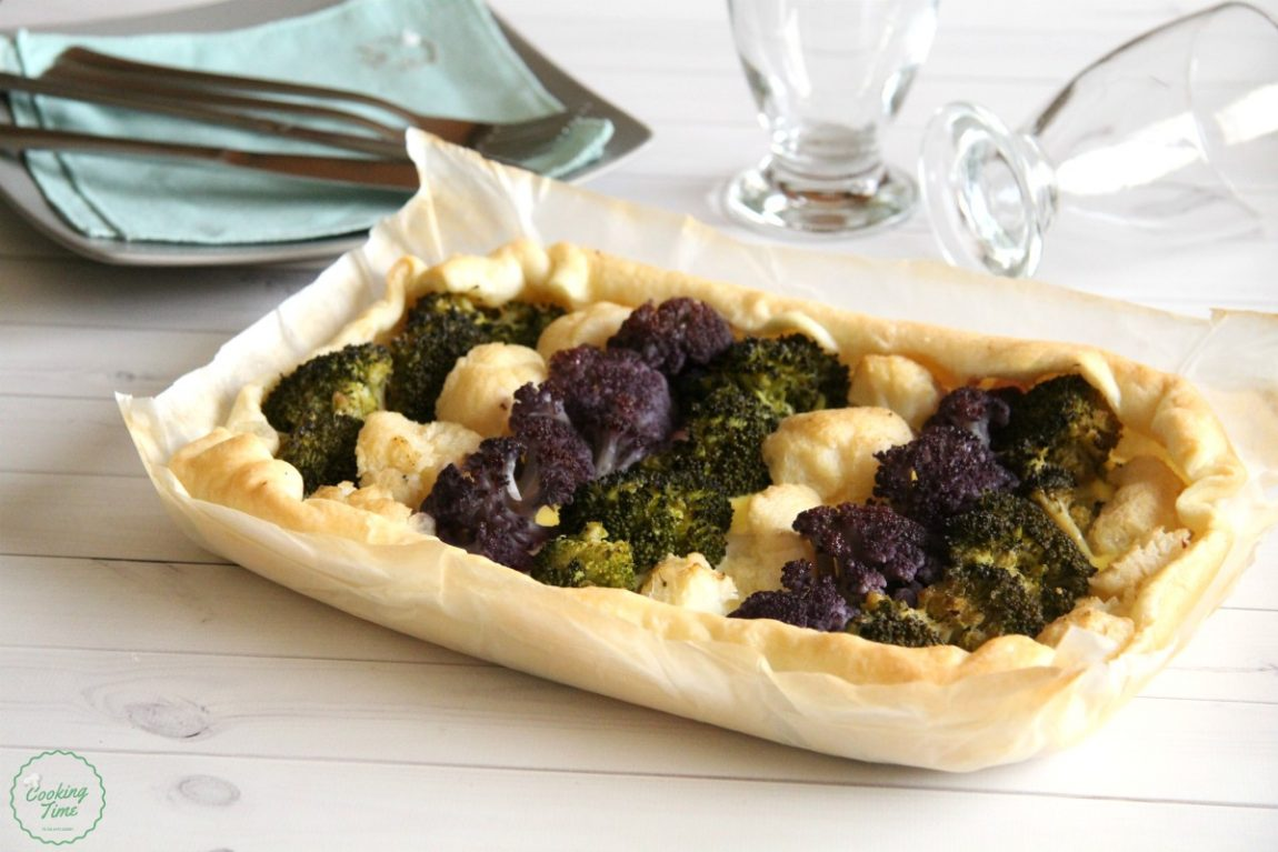 torta salata con cavolfiori e broccolo